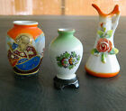 SET OF 3-OCCUPIED JAPAN MINIATURE PORCELAIN VASES-ASIAN MAN, FLOWERED PITCHER