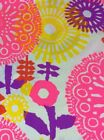 Fabric Bright Bold Floral Pink Yellow Red Purple White 2 Yards 10 Inches BB19