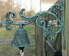 Cast Iron Green Verdigris Color Plant Vine Garden Yard Bell Metal Bracket Mount