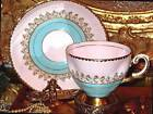 TUSCAN PINK & TURQUOISE HAND PAINTED BEADED TEA CUP AND SAUCER 8797 H
