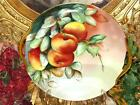 HAND PAINTED LEONARD VIENNA AUSTRIA  FRUITS  HANDLED DECORATIVE PLATE c.1906
