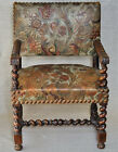Antique Armchair Louis XIII Carved Walnut Wood and Embossed Leather, up to 18th