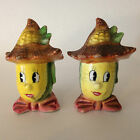 Vintage Anthropomorphic Scarecrow Corn Face Head Salt and Pepper Shakers Japan