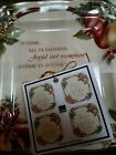 222 FIFTH Yuletide Celebration Set of 4 Square APPETIZER Snack Plates Christmas