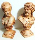 Vintage PAIR of Plaster Busts/ Blackamoors/ Nubian Man and Woman/ Antique Statue