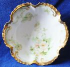 Beautiful Old Abbey Limoges Bowl With White Roses & Heavy Gold