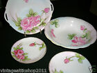Vintage Handpainted Pink Rose Nippon Berry Cake Dessert Service 7 PC Set