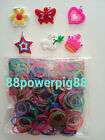 1500 Mixed Color Glitter Loom Rubber Bands & 40 S Clips & 6 Charms US Seller