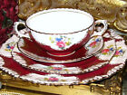 ROYAL STAFFORD RUBY/RED PINK ROSE SPRAY 4pc PLACE SETTING TEACUP SET