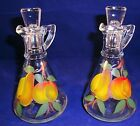 Vtg Bartlet Collins Gay Fad Hand Painted Frui Oil & Vinegar Cruets w/ Stoppers