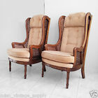 2 mid century modern hollywood regency faux bamboo tufted cane wing back chairs
