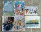 6 Original Pastel Art Drawings/Beach Landscape In Manner Of Jefferey Boys   #823