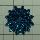 TURQUOISE SEQUIN BEADED FLOWER APPLIQUE 2699 A