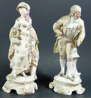2 EARLY GERMAN MEISSEN BISQUE VICTORIAN LADY AND GENTLEMAN FIGURINES