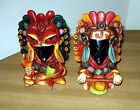 Pair Aztec Warrior Figurine Statue Carved Obsidian Onyx Clay Embellishments