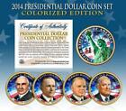 2014 Presidential 1 Dollar COLORIZED President 4 Coin Complete Set w Capsules