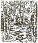 Forest Stream Wood Mounted Rubber Stamp NORTHWOODS NEW P1939