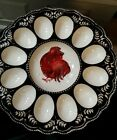Vintage Looking Deviled Egg Platter Serving Ceramic Dish Rooster Chicken Easter