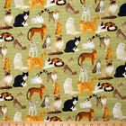 By 1/2 yard Cats on Olive green fabric 100% cotton  44