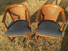 2 HENREDON Mid-Century Hollywood Regency Wicker-Back Arm Chairs