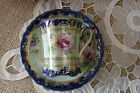 Hand Painted Pink Blue Green Floral Gold Chocolate Cup & Saucer- FREE Shipping!