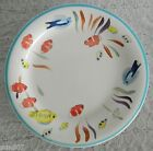 Set of 4 Gibson Designs Hand Painted Sea Scape Fish Dinner Plates Stoneware