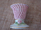 Porcelain Pink Lattice Work Candlestick Holders Cottage Chic Style