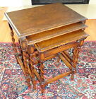 ANTIQUE 1920's ENGLISH OAK BARLEY TWIST NEST OF TABLES ~ Side End Table Set of 3