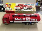 MOBIL GAS Tank Truck Tin Friction With Crank Hose ( Made In Japan ) 1960's