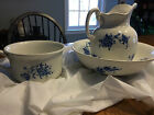 Antique Flow Blue - Pitcher, Bowl, and Chamber Pot
