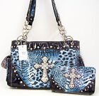Western Handbag Wallet Set Blue 200SU Rhinestones Cross Bling  Purse Clutch Bag