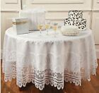 Round White Lace Tablecloth 84 inch round scallopped edges