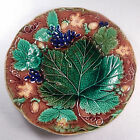 ANTIQUE MAJOLICA GRAPE LEAF AND STAWBERRY PLATE
