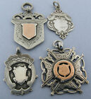 Antique Lot of 4 Solid Sterling Silver Pocket Watch Fobs Medals Pendants 37 gram