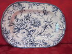 222 FIFTH ADELAIDE BLUE WHITE FRENCH TOILE BIRD OVAL SERVING PLATTER NEW