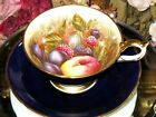 AYNSLEY ORCHARD FRUIT TEA CUP & SAUCER D JONES COBALT BLUE c.1930's VINTAGE