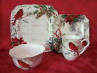 222 FIFTH HOLIDAY WISHES POINSETTIA CARDINAL CHRISTMAS 24 PC DINNERWARE SERV 6