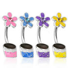 SPECIAL PURCHASE 4pc Gemmed Flower Pot Belly Rings Navel Naval B171