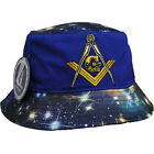 MASONIC ROYAL BLUE BUCKET HAT CAP WITH STAR DESIGN EMBLEM EMBROIDERED MEDIUM
