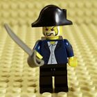 LEGO Pirate Minifig Blue Uniform and Bicorne Hat Gray Cutlass NEW