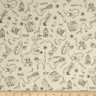 Cat Fabric - PURRSNICKITTY - SKETCHED CATS - CREAM - By The Yard