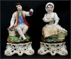 ANTIQUE FRENCH PAIR OF  PORCELAIN FIGURES WITH VASE 19th.C