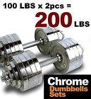 New Pair Adjustable Chrome Dumbbells 200 lbs Weight Set 100 lbs Dumbbell x 2pcs