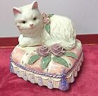 LEFTON PORCELAIN YAMADA ORIGINALS WHITE CAT ON PILLOW MUSIC BOX