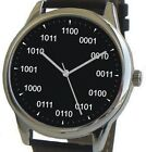 Large Geek Black Dial Watch Has Binary Numbers At Each Hour- Black Leather Strap