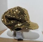 Glitter Sequin Trim Newsboy Style Relaxed Fit Cap gold