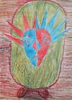 Abstract surrealist  figure pastel drawing