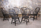 Vintage set of 6 Early American country Windsor chairs in black Warren Chair CO