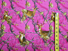 Realtree Fuchsia Deer Bucks Tree Leaves Camo Camouflage BY YARDS  Cotton fabric