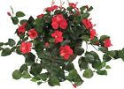 Nearly Natural Hibiscus Hanging Basket Red Decorative Elegant Silk Plant Beauty
